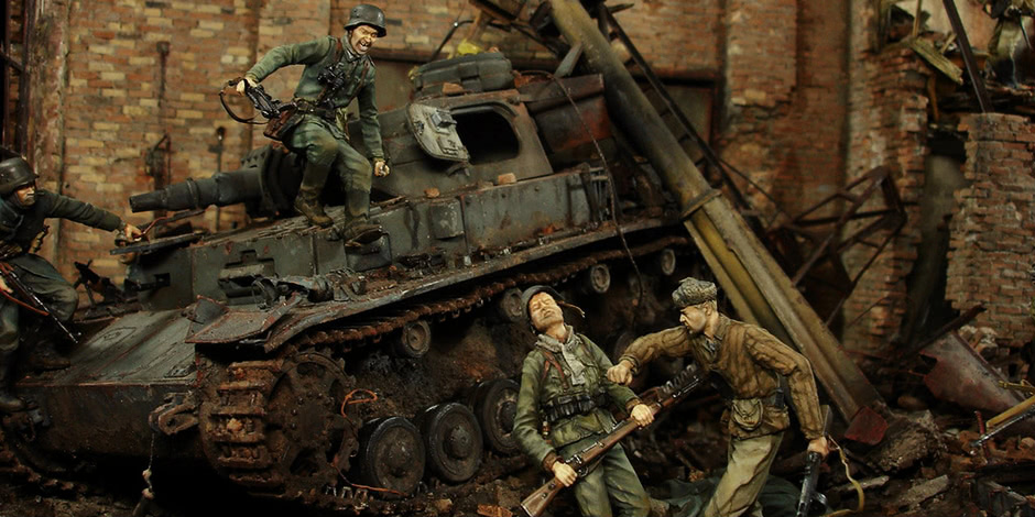 Stalingrad — Berlin: Double model of two moments of World War II