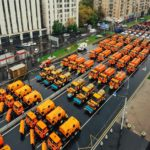 The first parade of city utility and emergency vehicles in Moscow