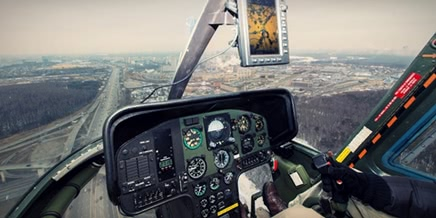 Flying around a suburban area of Moscow by a helicopter