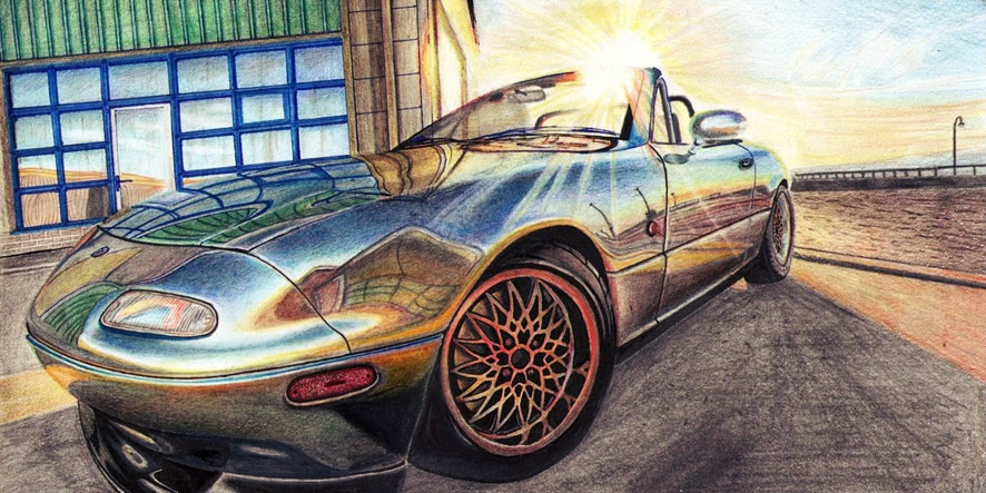 Excellent pencil drawing of cars by 15-year-old boy from Russia