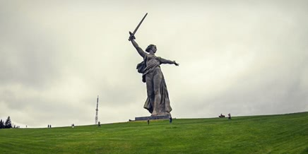 Climbing on top of the Motherland Calls Monument in Volgograd