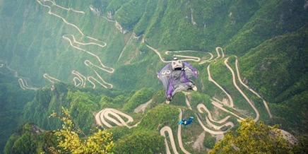 Russian BASE jumping: Flying from the Avatar mountains in China