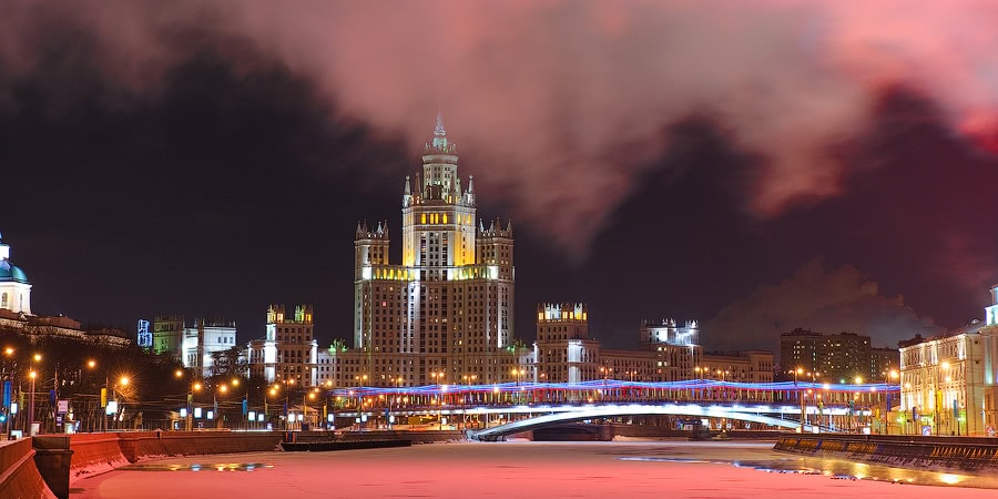 Night Moscow: Brilliant lights of the winter capital city of Russia