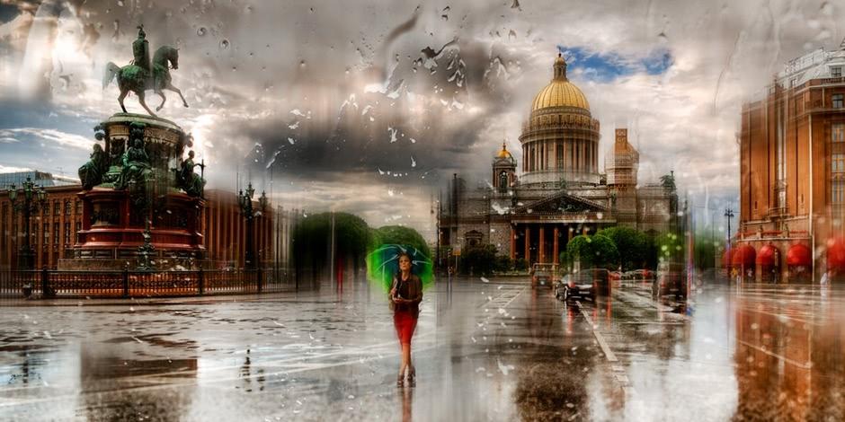 Rainy Saint Petersburg: Photographic art by Eduard Gordeev