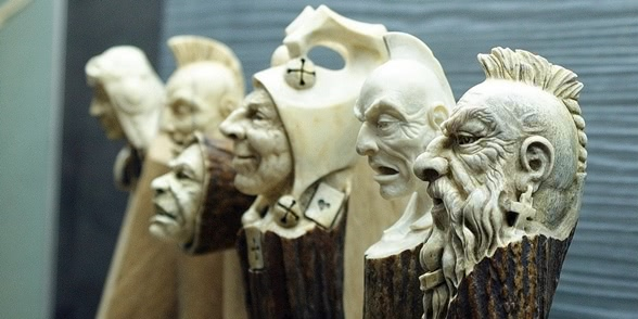 Impressive carved wood and bone figures by Andrey Sagalov