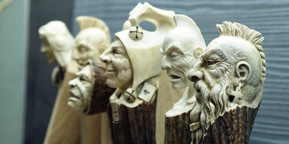 Impressive carved wood and bone figures by Andrey Sagalov