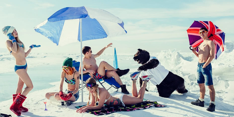 White beaches of Siberia: Frosty party on the lake Baikal