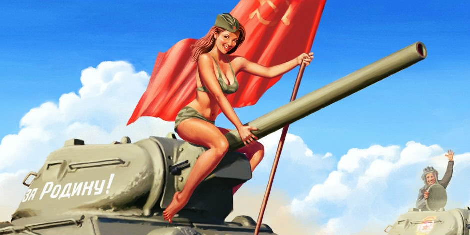 Pictures and Soviet posters in the Pin-Up style by Valery Barykin