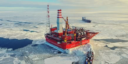 Russian ice-resistant oil platform Prirazlomnaya in the Arctic